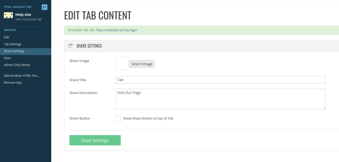 Fangate tab share settings