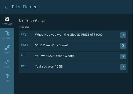 Edit prize element