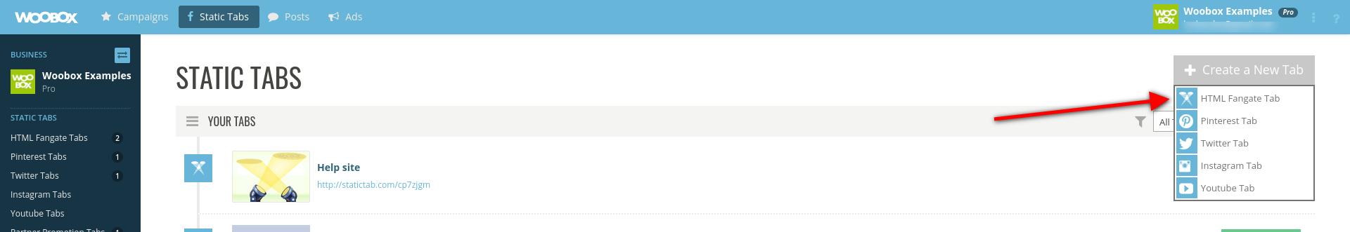 Create new static tab