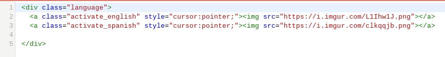 Code for language bar