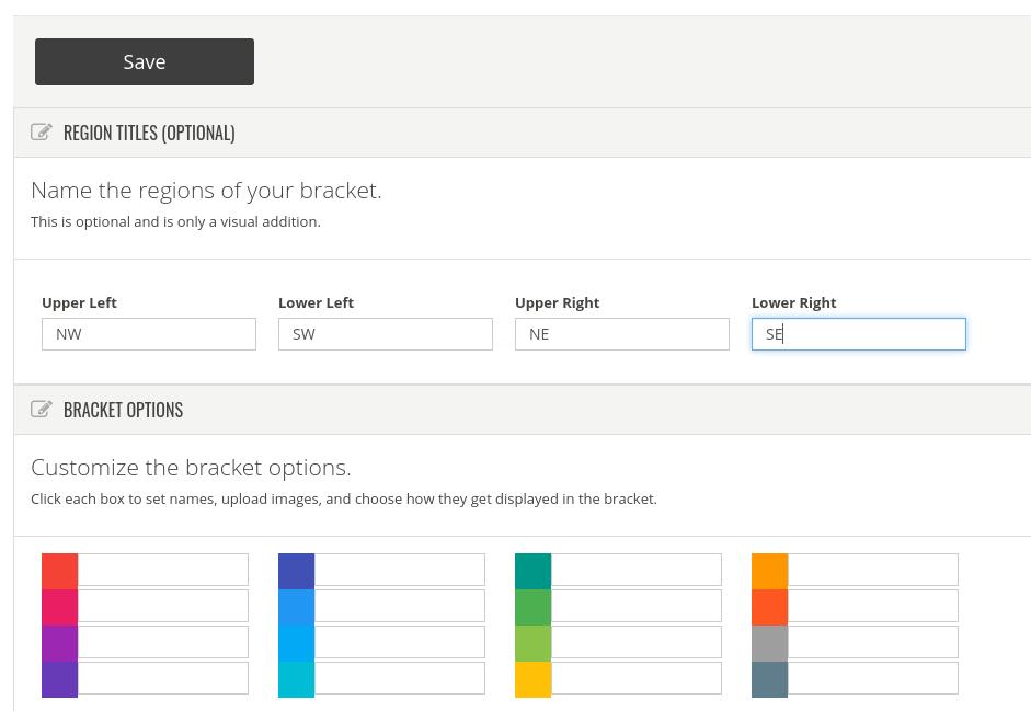 Bracket settings screen