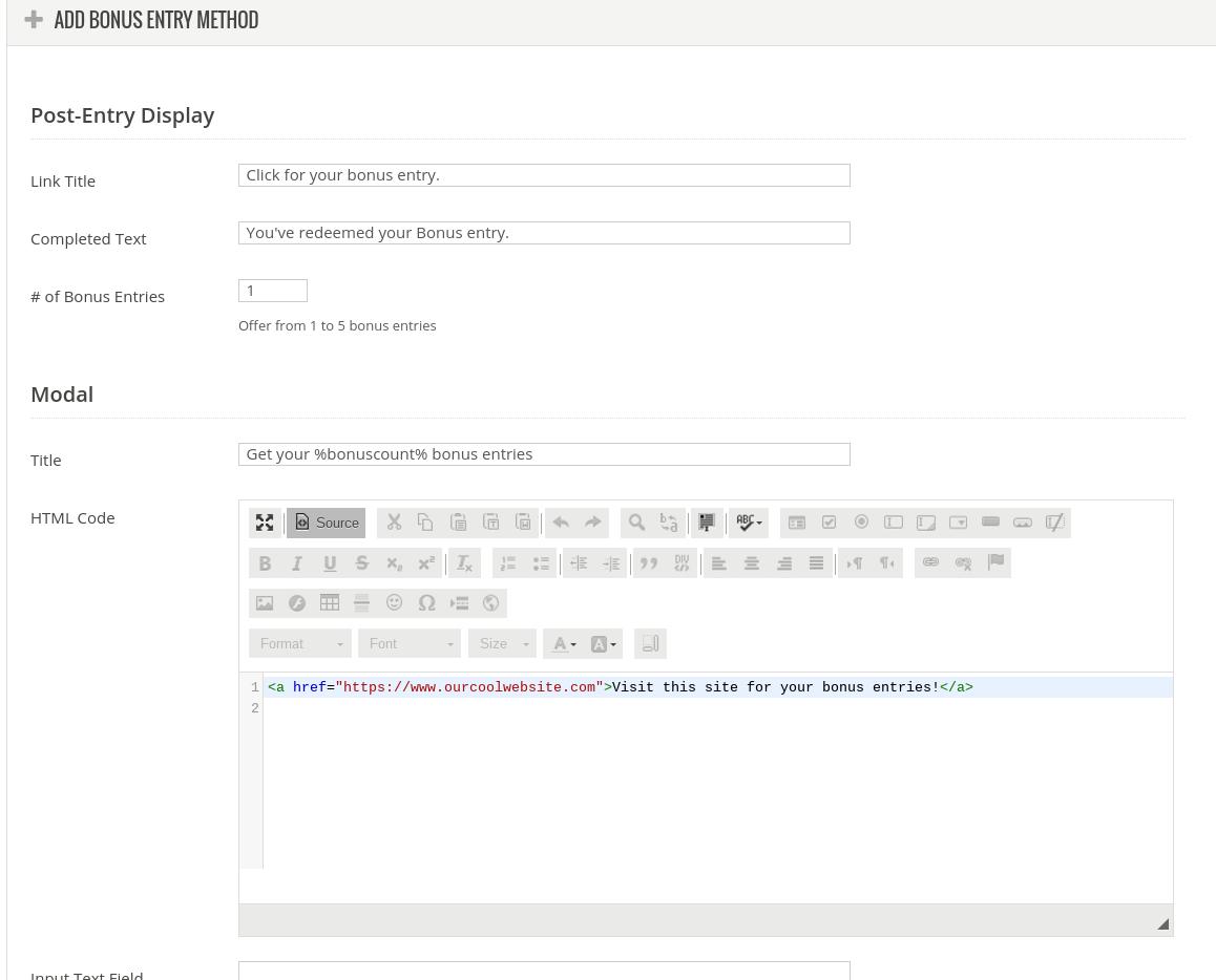 Custom bonus entry editor