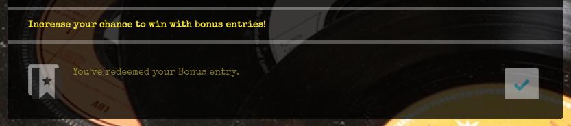 Custom bonus entry redeemed