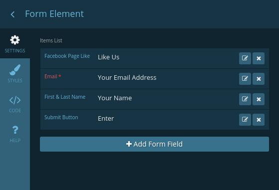Form element settings