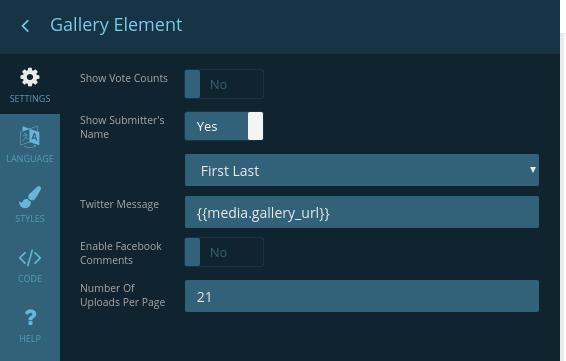 Element settings menu