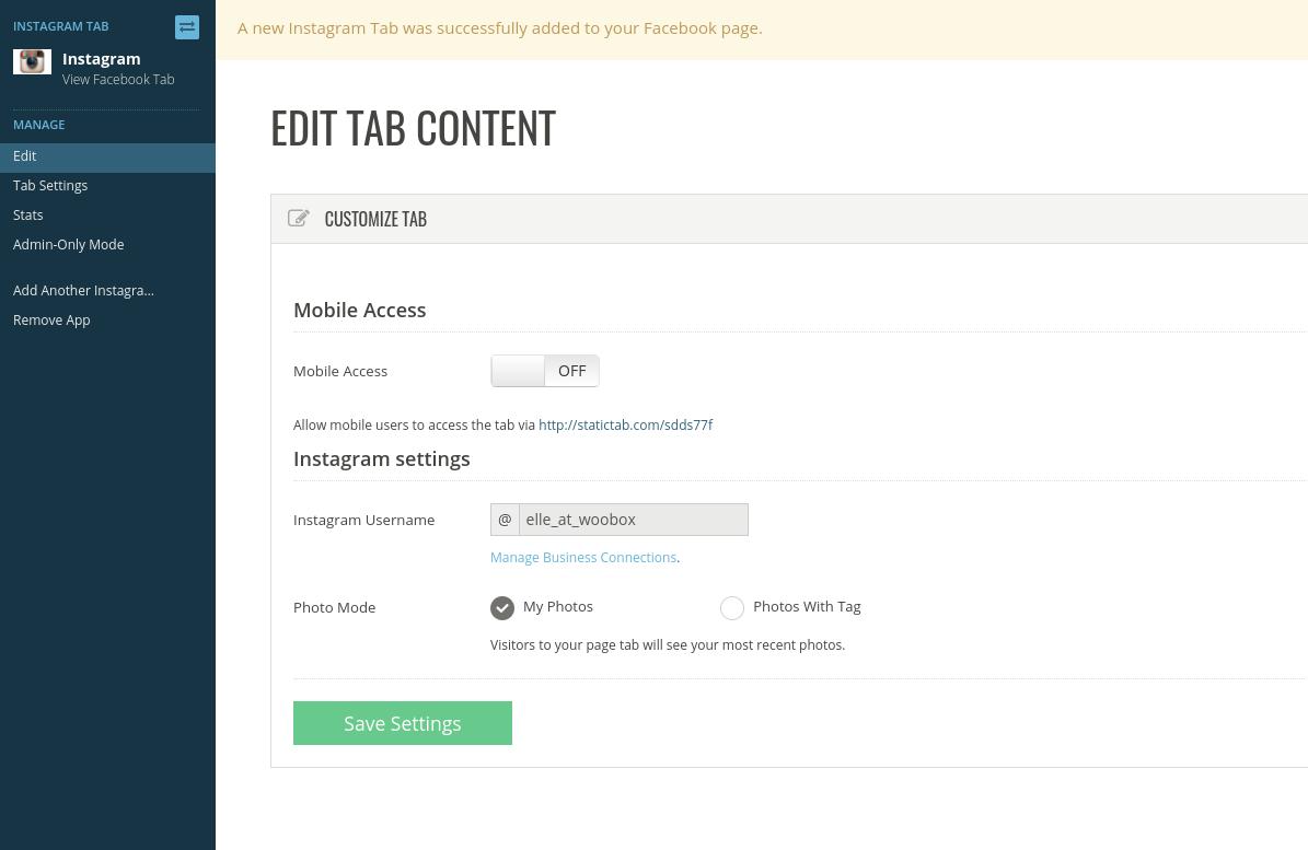 Edit tab content