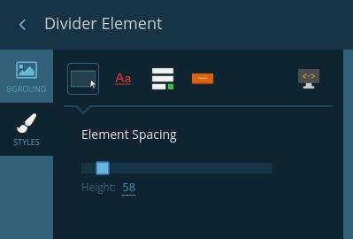 Divider element styles tab
