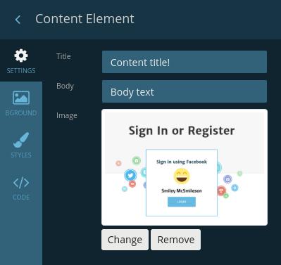 Content element settings