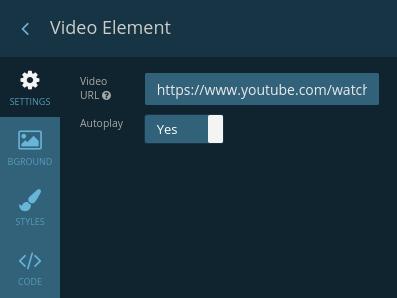Video Element settings