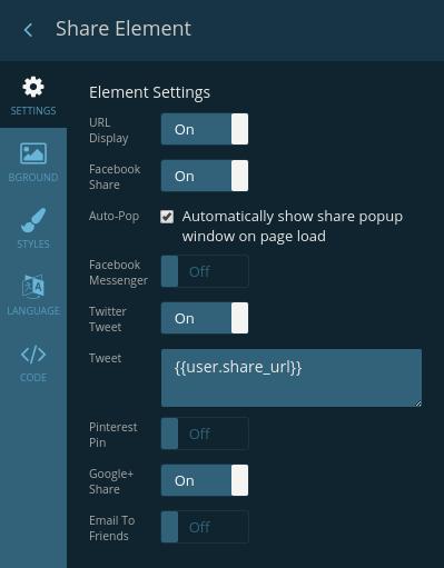 Share element settings