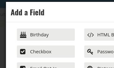 Birthday field menu option