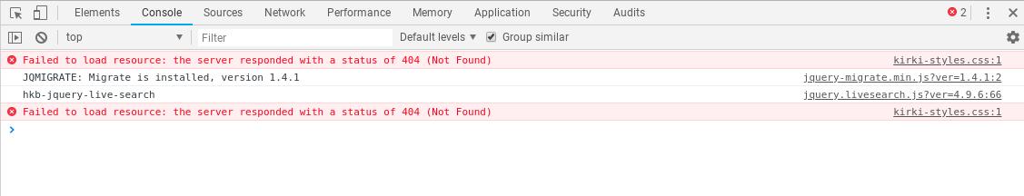 Inspect - JS errors