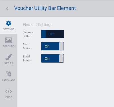 Voucher utility bar settings