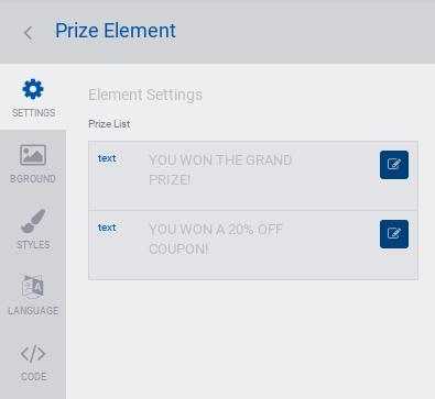 Prize customization settings