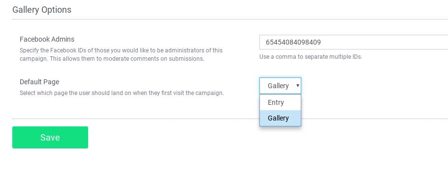 UGC contest presentation settings