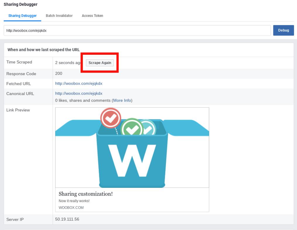 Facebook debugger - second scrape