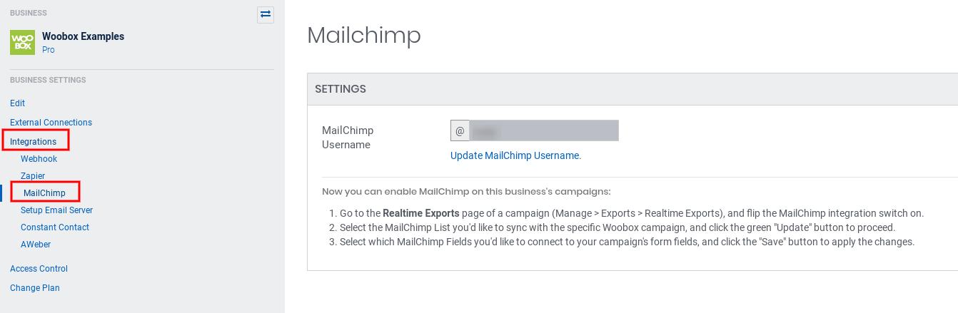Integrations - MailChimp username