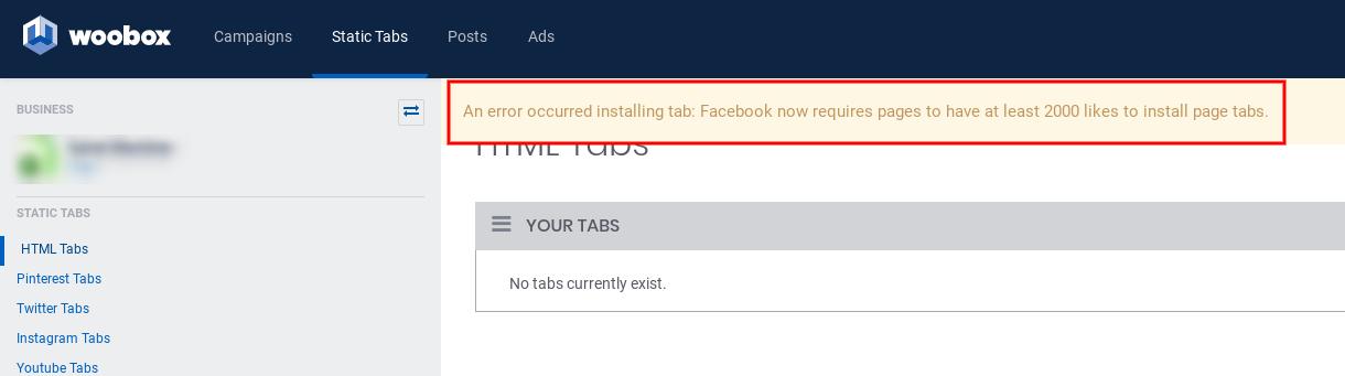 Static tab install error