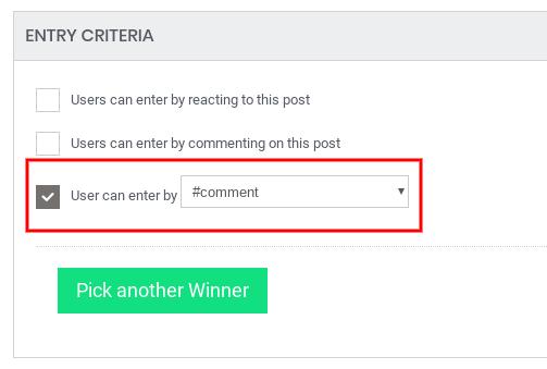 Pick winner criteria - hashtag