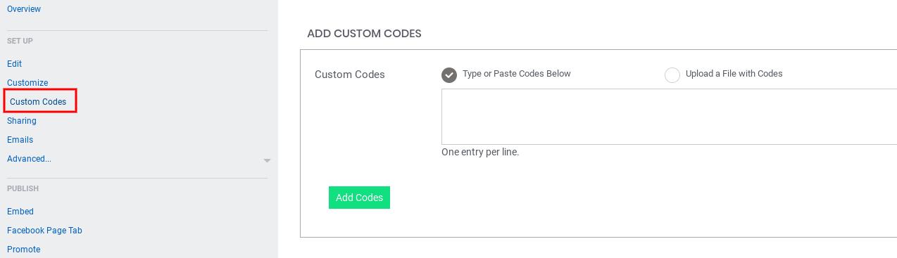 Coupon - custom codes