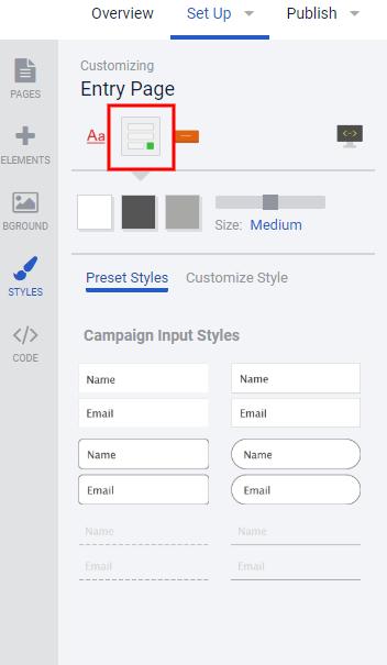 Styles tab - input styles