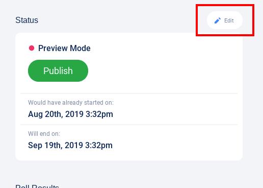 Status section - edit button