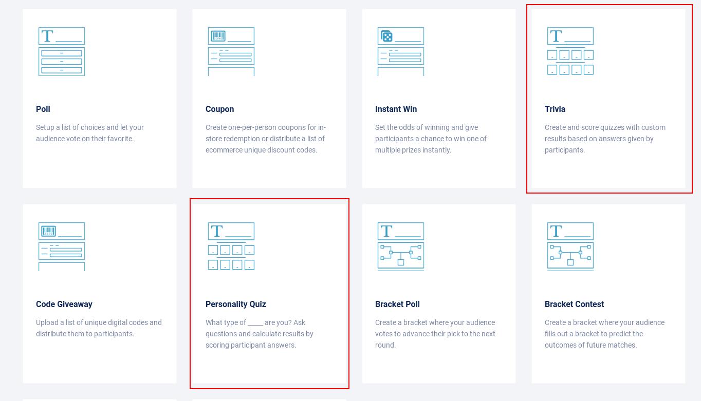 Quiz setup - campaign types