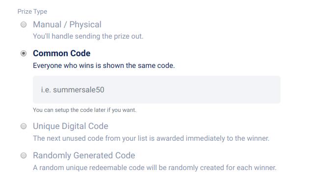 Prize type - common code