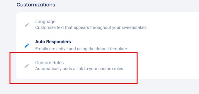 Custom rules option - Settings