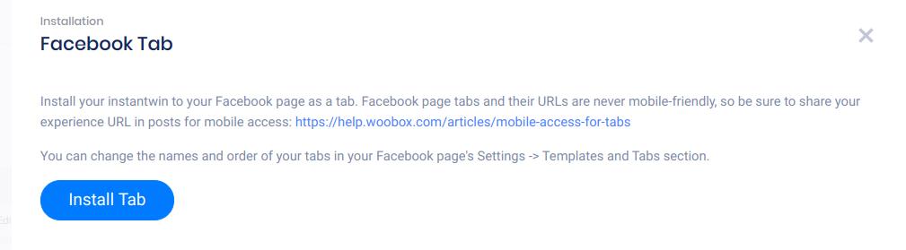 Install Facebook tab panel
