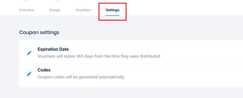 Voucher settings tab