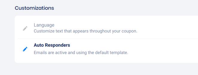 Coupon - customizations section