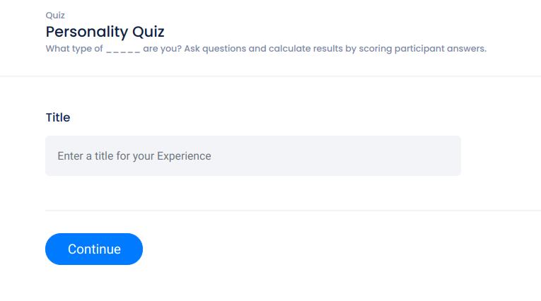 Personality quiz setup - title screen
