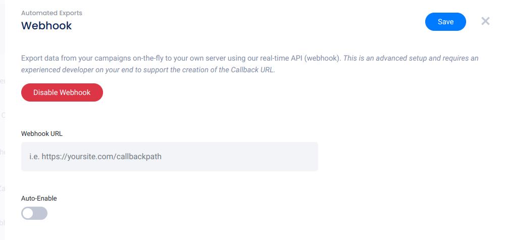 Webhook settings panel