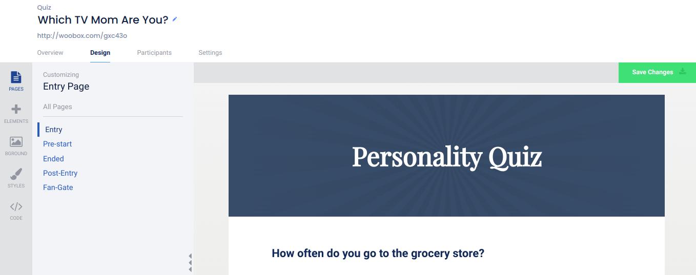 Personality quiz Design tab