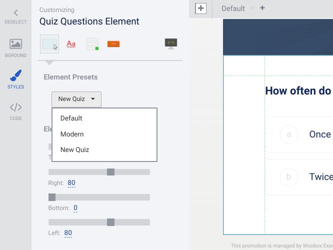 Quiz questions element styles