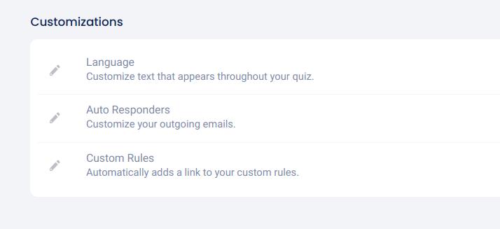 Quiz settings - customizations