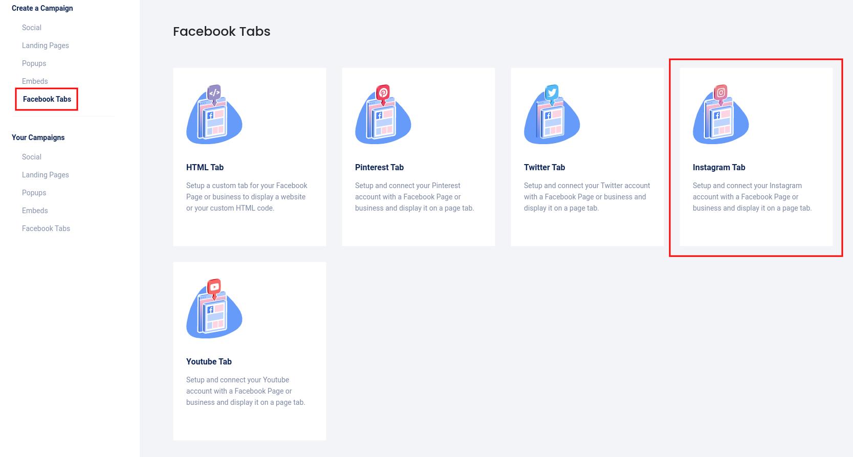 Facebook tabs - Instagram tab