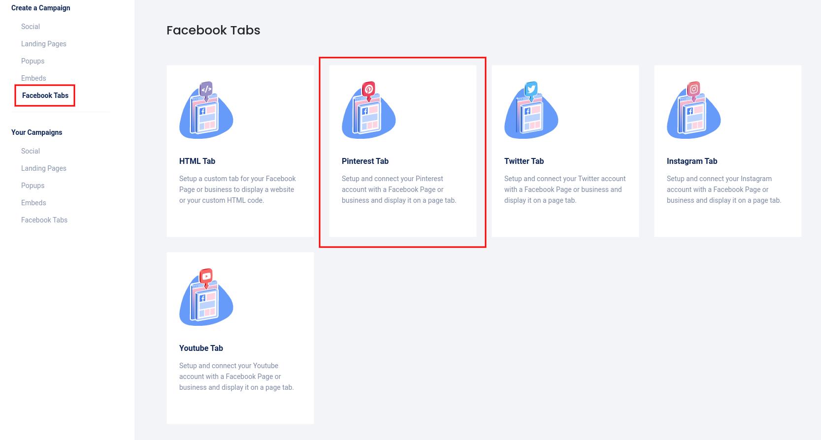 Facebook tabs - Pinterest tab