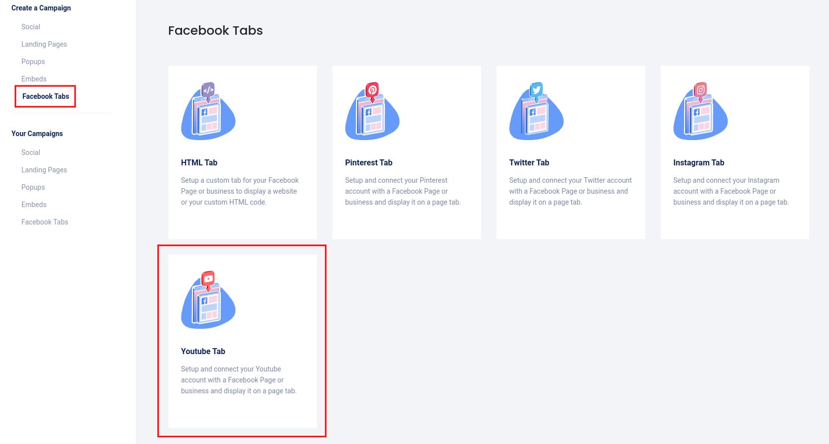 Facebook tabs - YouTube tab