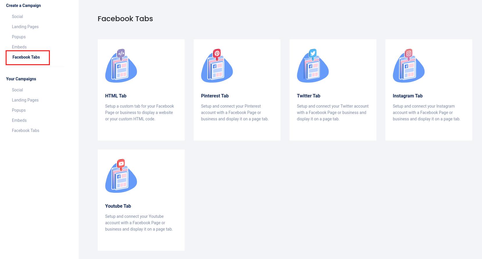 CAmpaigns - Facebook tabs 2021