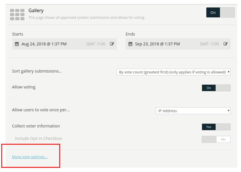 More vote settings link