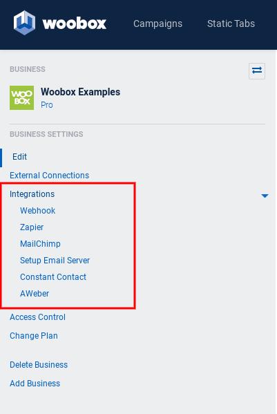 Business settings - Integrations