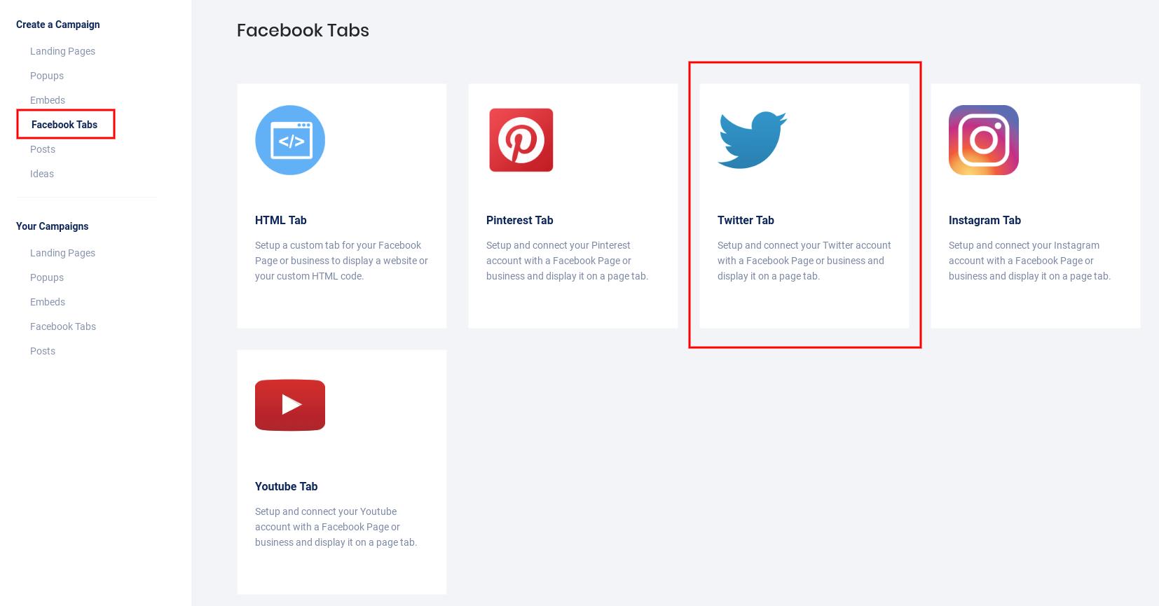 Create Twitter tab 2019