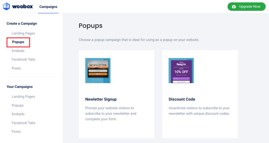 Create a campaign - popups