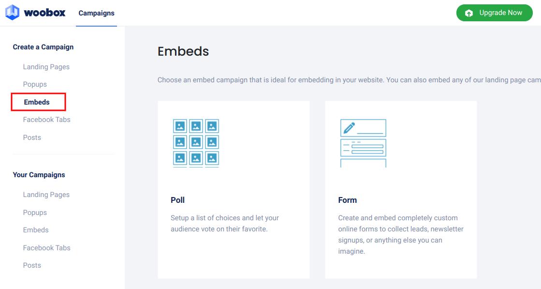 Create a campaign - Embeds