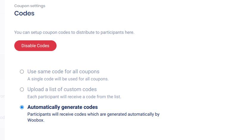 coupon - randomly generate codes