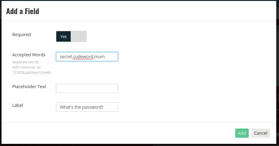 Password field settings