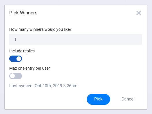 Winner from post criteria modal