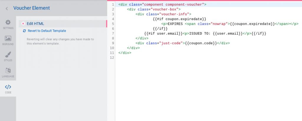 Element - code tab - edit HTML